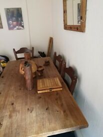 Solid wood kitchen table six chairs solid wood