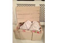 SHABBY CHIC RUSTIC STORAGE CRATE BOX