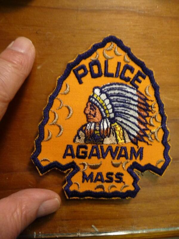 Vintage Agawam Mass Police Patch Indian Pristine Mint Condition SKU# 22028