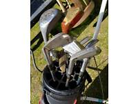 """Golf Club Set, Bag and Trolley. """"Pinseeker"""" Drivers, Wedges and Putter etc."""