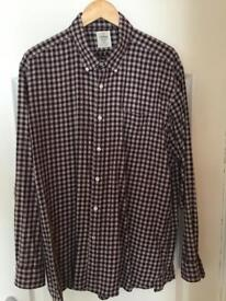 TM Lewis burgundy & grey box check long sleeve shirt Size XL