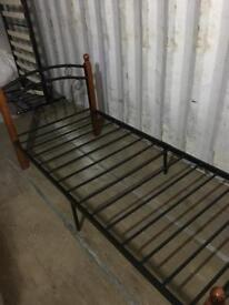 3ft Single metal and wood bed frame