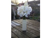 Pretty artificial flowers and vase