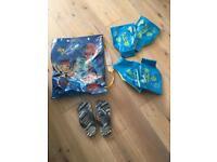 Boy swim bag. Havaiana flip flops size 10-11. 2 pairs speedo armbands.