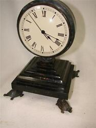 Decorator Maitland-Smith Mantle Clock-Turtle Feet-Stone Base & Verdiqris Finish-