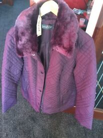 Ladies plum quilted jacket...Brand new size 18