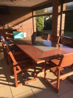 9 piece outdoor setting solid timber wood