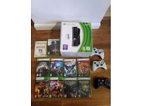 Xbox 360 slim 250GB with 4 Controllers and 10 games. Great condition. Smoke free home.