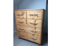 Lovely pine chest of drawers and bedside table