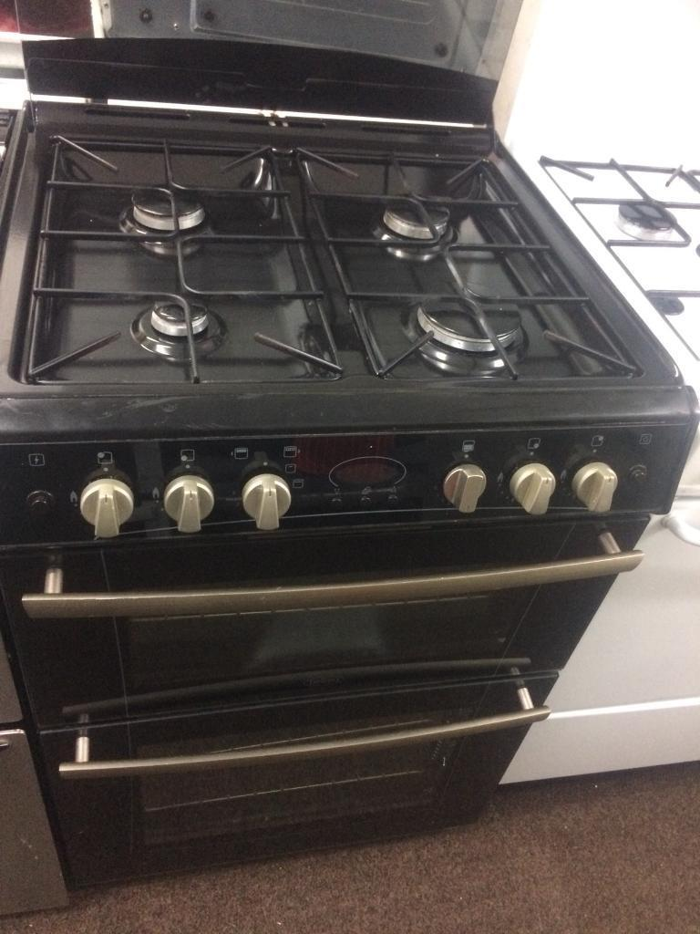 Black belling 60cm gas cooker grill & double ovens good condition with guarantee