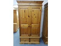 Excellent quality and condition double pine wardrobe over drawers