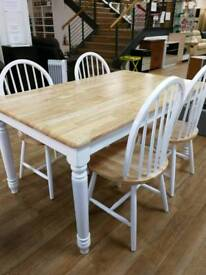 Stunning solid pine and white table with option of 4 matching chairs