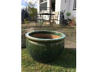 Large green and turquoise planter