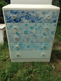 Stunning Solid chest of drawers with Bird+floral illustrated design
