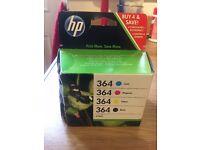 HP PRINTER INK CARTRIDGE 364 COLOUR X 4 no black but 2 blue