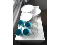 IKEA Kitchenware (plates, cutlery, bowls, teapot, serving spoons, mugs, glasses, grater, cloths)