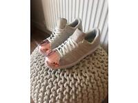 Adidas Superstar Beigh Rose Gold Capped Toes Trainers Size UK 5 1/2