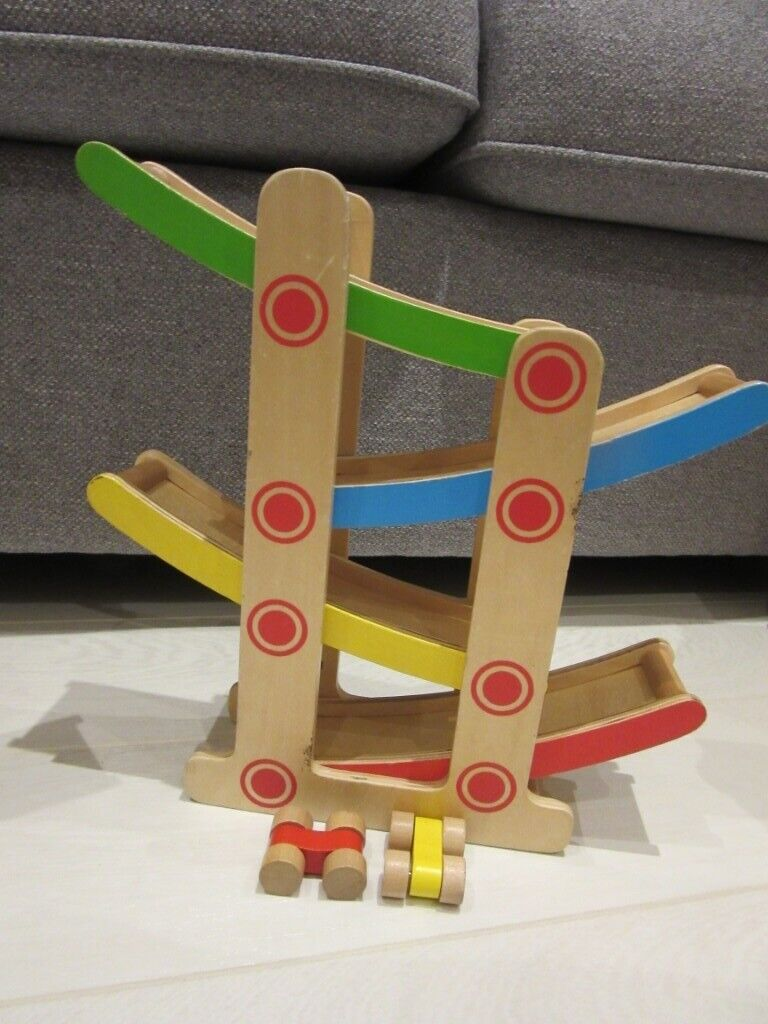 wooden zig zag toy car slide with 2 cars | in bournemouth, dorset | gumtree