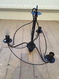 Lovely black metal 3 armed chandelier