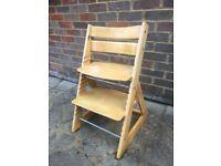 Tripp Trapp style adjustable wooden child seat