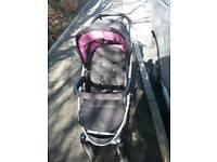 Pink and black hauck buggy pram stroller pushchair + matching bag