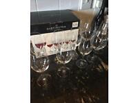 Set 6 white Wine Glasses and 3 Red. Dartington Crystal, Dishwasher safe.