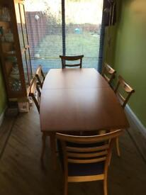 Solid wood (yew) dining table and display cabinet