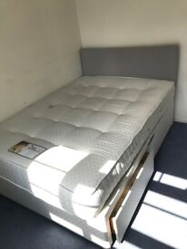 Double Bed: Mattress and Mattress Base with Drawers