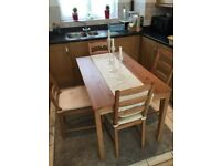 Ikea pine colour wooden table and 4 chairs