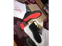 Christian Louboutin Mens Suede Black Spikes