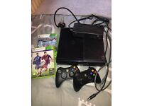 Xbox 360 with all leads 2 controllers good conditions FIFA 15 and MINECRAFT