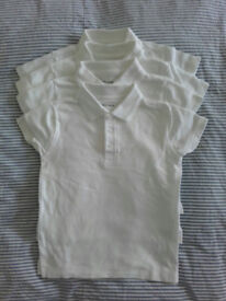 4 white school uniform polo shirts – NEW – age 4