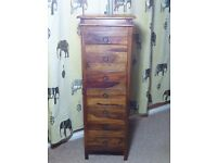 SHEESHAM HARDWOOD TALL CHEST OF DRAWS WITH SEVEN DRAWS