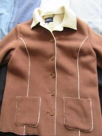 "Brown ""sheepskin effect"" coat by Dash. Size 14"