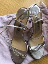 Jimmy Choo silver strappy heels size 36.5