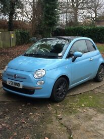 Beautiful Volare Blue Fiat 500 lounge style with bespoke brown leather and cream interior