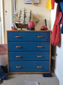 Chest of 4 drawers blue/ beige High Wycombe