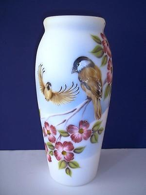 Fenton Glass White Chickadees & Dogwood Bird Flower Vase J. K. Spindler Ltd Ed
