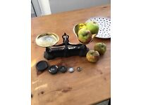 Antique kitchen scales with weights