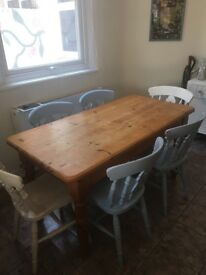 Upcycled dining table and 6 chairs