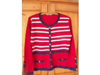 """Simply Stock Shop red, blue & white faux-cardigan jumper. Size S/M (38-40"""" bust).. £3 ovno."""