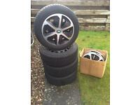 4 WINTER TYRES ON STEEL WHEELS 205/55/R16 WITH WHEEL TRIMS