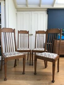set of 4 Oak Waring and Gillow Arts and Crafts dining chairs