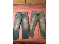River island size 14, high waisted ripped jeans