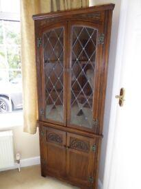 Old Charm Hand Carved Oak Corner Cabinet
