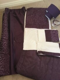 Curtains and double duvet set with extras (purple)