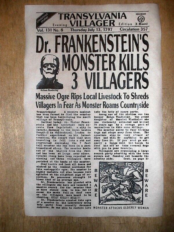 """(437L) NOVELTY POSTER HALLOWEEN FRANKENSTEIN MONSTER TRANSYLVANIA OGRE 11""""x17"""""""