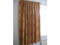 """EXTRA WIDE 93"""" per curtain THERMAL TAN RUST BRICK RED PENCIL CURTAINS 59"""" DROP"""