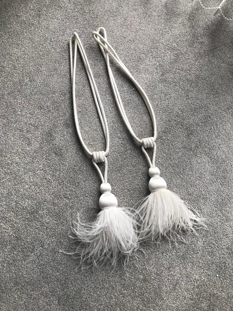 White Feather Curtain Tie Backs In Poole Dorset Gumtree
