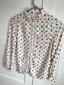 Zara girls owl decorated shirt